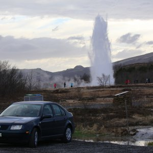 Iceland - with geyser in background