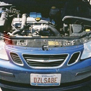 Under the hood of the diesel saab at TDIfest 2005
