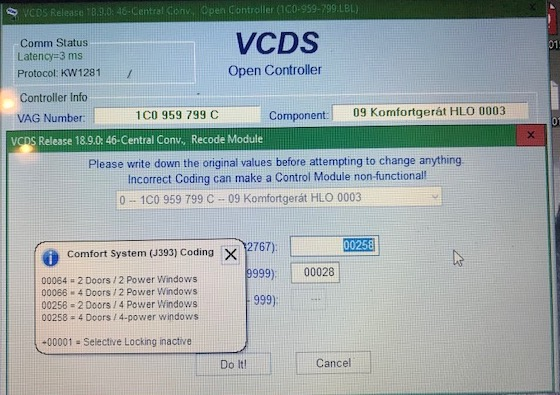 VCDS settings for fob programming